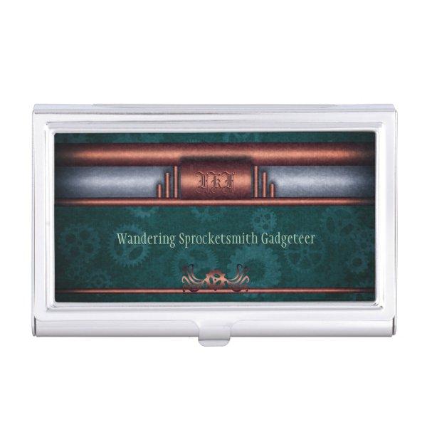 Monogram, Steampunk Art Deco twist, copper teal Business Card Holder
