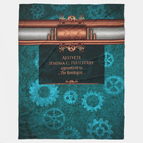 Monogram, Steampunk Deco fusion, copper and teal Fleece Blanket