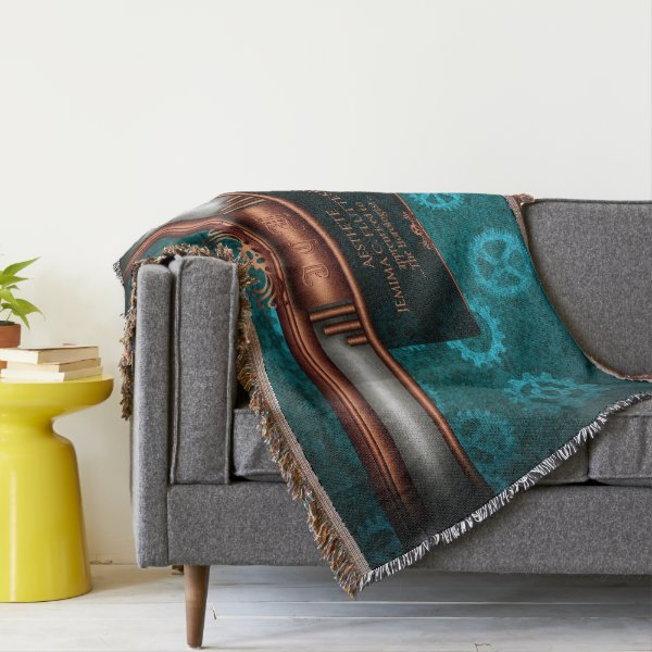 Monogram, Steampunk Deco fusion, copper and teal Throw