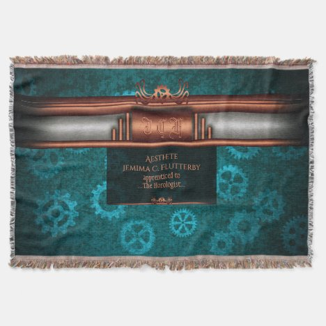 Monogram, Steampunk Deco fusion, copper and teal Throw Blanket