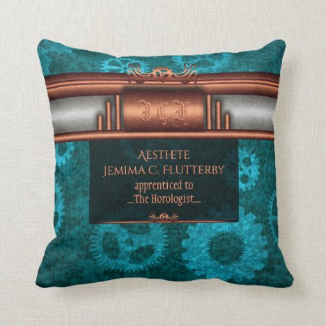 Monogram, Steampunk Deco fusion, copper and teal Throw Pillow