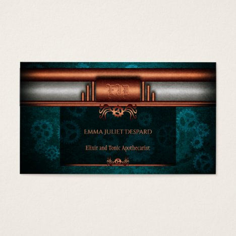 Monogram, Steampunk Deco fusion on copper and teal Business Card