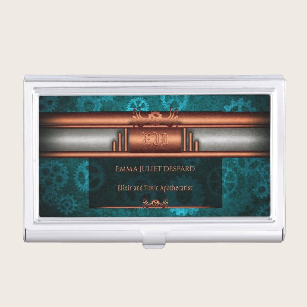 Monogram, Steampunk Deco fusion on copper and teal Business Card Case