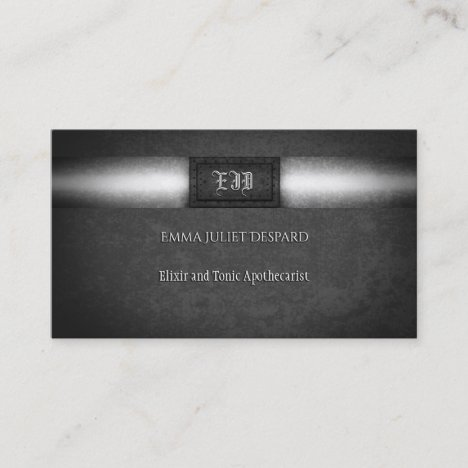 Monogram Steampunk grunge riveted steel plate Business Card