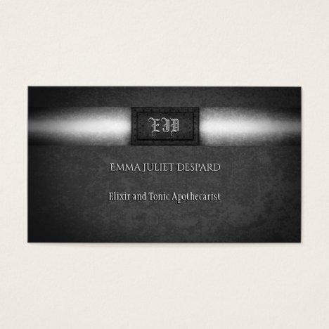 Monogram Steampunk grunge riveted steel plate Business Card