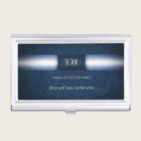 Monogram Steampunk rivetted bluesteel grunge plate Business Card Holder