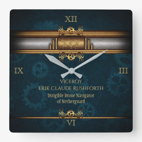 Monogram Steampunked Deco, brass and blue Square Wall Clock