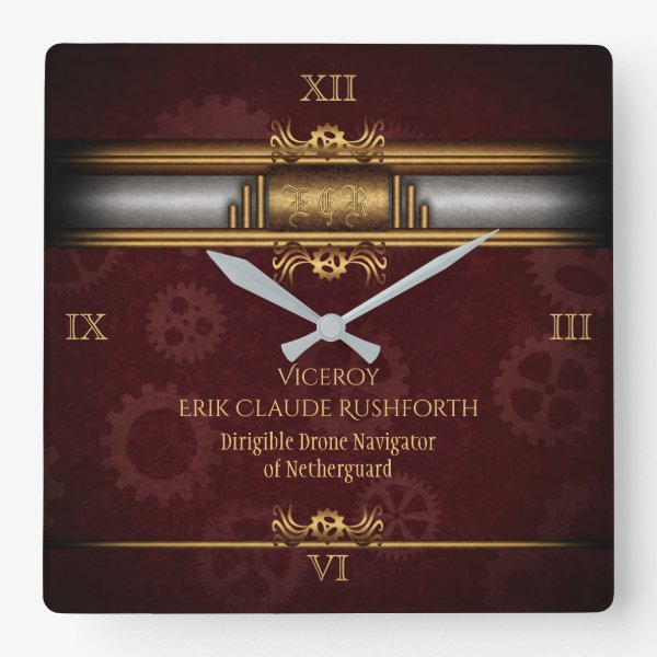 Monogram Steampunked Deco, brass and maroon Square Wall Clock