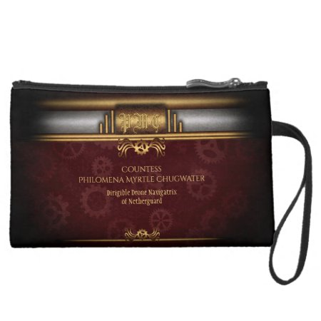 Monogram Steampunked Deco, brass and maroon Suede Wristlet Wallet