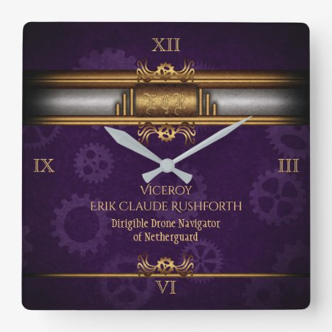 Monogram Steampunked Deco, brass and royal purple Square Wall Clock