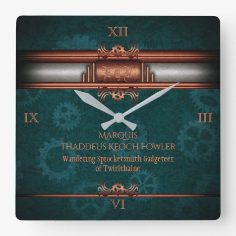 Monogram Steampunked Deco, copper with teal cogs Square Wall Clock