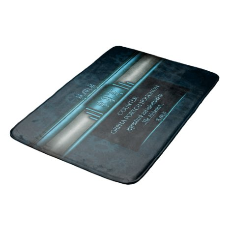 Monogram, Steampunked Deco on ice-blue and teal Bathroom Mat