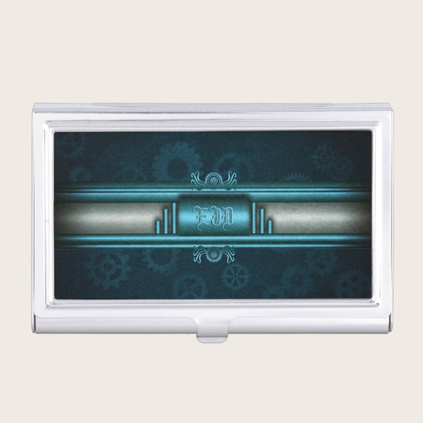 Monogram, Steampunked Deco on ice-blue and teal Business Card Case