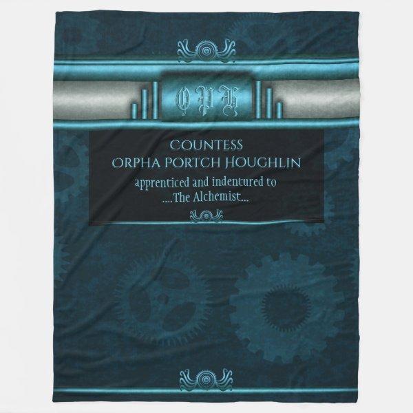 Monogram, Steampunked Deco on ice-blue and teal Fleece Blanket