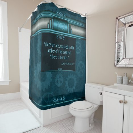 Monogram, Steampunked Deco on ice-blue and teal Shower Curtain