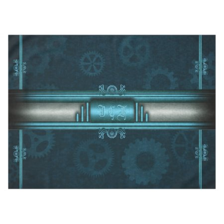 Monogram, Steampunked Deco on ice-blue and teal Tablecloth