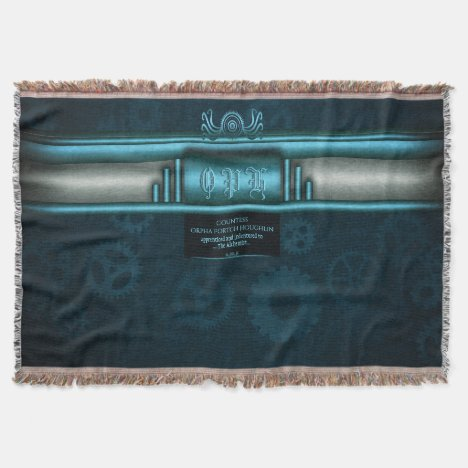 Monogram, Steampunked Deco on ice-blue and teal Throw Blanket