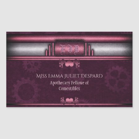Monogram Steampunked Deco, pink metallic heart Rectangular Sticker