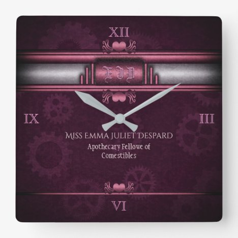 Monogram Steampunked Deco, pink metallic heart Square Wall Clock