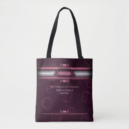 Monogram Steampunked Deco, pink metallic heart Tote Bag
