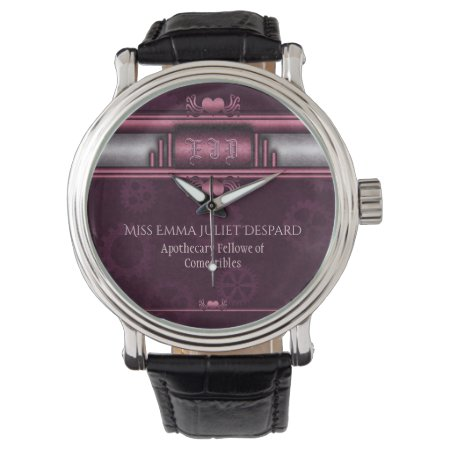 Monogram Steampunked Deco, pink metallic heart Wrist Watches