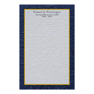 Monogram Steel Blue Brick Fine Lined Stationery