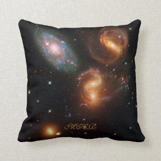 Monogram Stephans Quintet deep space star galaxies Throw Pillow