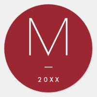 Monogram Sticker, Christmas, Red Classic Round Sticker