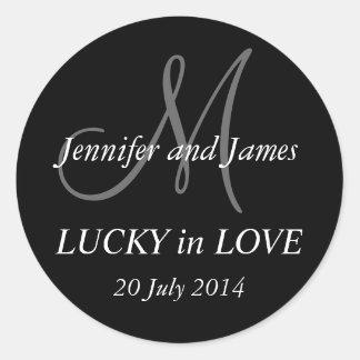 Monogram Stickers for Weddings Black