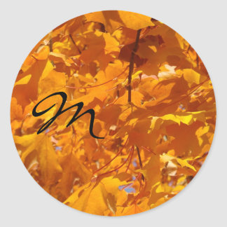 Monogram stickers Golden Autumn Leaves Letters
