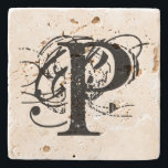 """Monogram Stone Coaster<br><div class=""""desc"""">graphic art CHANGED THE LETTER TO PERSONALIZE FOR YOU OR FOR A GIFT</div>"""
