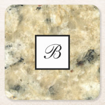 Monogram Stone Look Drink Coasters