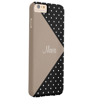 Monogram Straw Brown & Black Polka Dots ColorBlock Barely There iPhone 6 Plus Case
