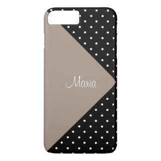 Monogram Straw Brown & Black Polka Dots ColorBlock iPhone 7 Plus Case