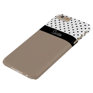 Monogram Straw Brown, Black White Dots Color Block Barely There iPhone 6 Plus Case