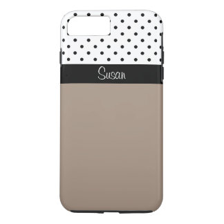 Monogram Straw Brown, Black White Dots Color Block iPhone 7 Plus Case
