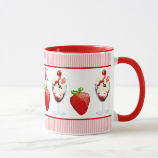 Monogram Strawberry Ice Cream Sundae Pink Stripes Mug
