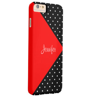 Monogram Strawberry Red & Black Dots Color Block Barely There iPhone 6 Plus Case