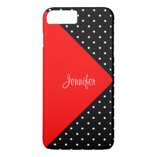Monogram Strawberry Red & Black Dots Color Block iPhone 7 Plus Case