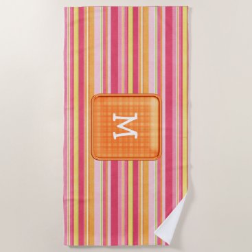 Beach Themed Monogram Striped Beach Towel