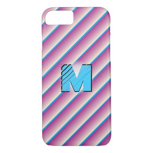 Monogram Striped Candy Phone Case
