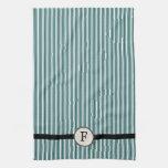 Monogram Striped Guest / Tea Towel, French Blue