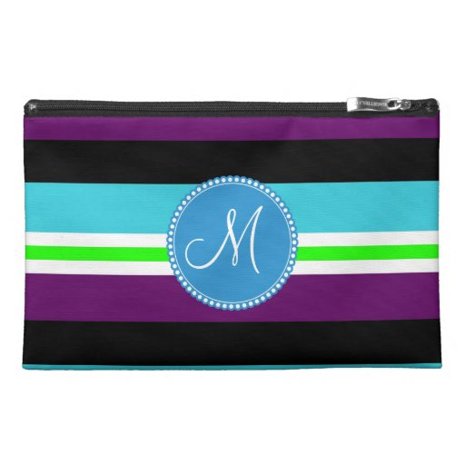 Monogram Striped Pattern Purple Teal Lime Black Travel Accessory Bags