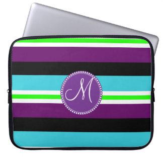 Monogram Striped Pattern Purple Teal Lime Black Laptop Sleeve