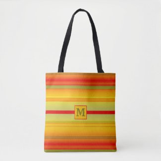 Monogram Striped Pattern Tote Bag