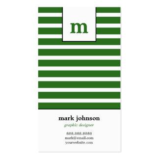 Monogram Stripes Business Card - Green -