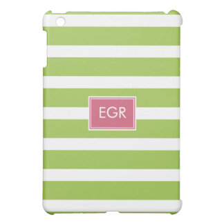 Monogram Stripes (Green/Pink) Cover For The iPad Mini