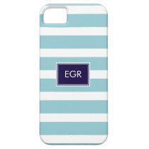 Monogram Stripes iPhone Cases (Aqua/Navy) iPhone 5 Case