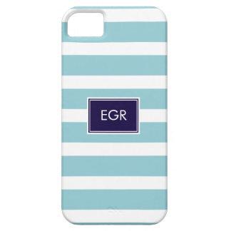 Monogram Stripes iPhone Cases (Aqua/Navy) iPhone 5 Covers