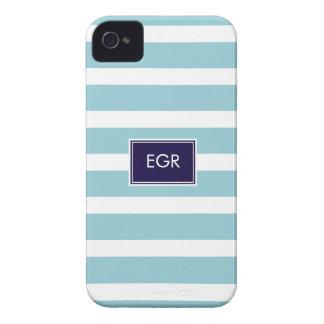Monogram Stripes iPhone Cases (Aqua/Navy) Case-Mate iPhone 4 Cases